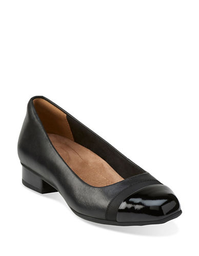 Clarks Artisan Keesha Rosa Leather Block Heel Shoes-BLACK-7