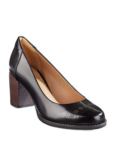 Clarks Artisan Tarah Sofia Perforated Leather Pumps-BLACK LEATHER-8