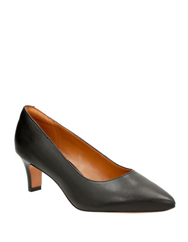 Clarks Cushion Soft Leather Wick Pumps-BLACK LEATHER-9W