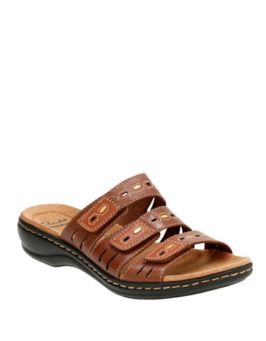 Clarks Leisa Leather Cushion-Soft Sandals-BROWN-6.5