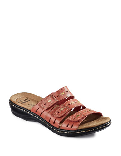 Clarks Leisa Leather Cushion-Soft Sandals-CORAL-10