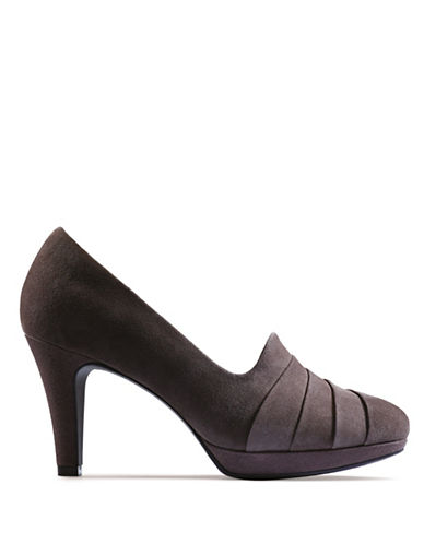 Clarks Narine Flora Suede Pumps-TAUPE-7.5
