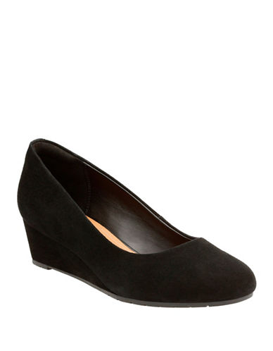Clarks Artisan Vendra Bloom Leather Wedge Pumps-BLACK-7.5