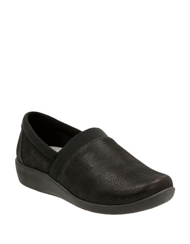 Cloudsteppers By Clarks Sillian Blair Textured Slip-On Shoes-BLACK-6