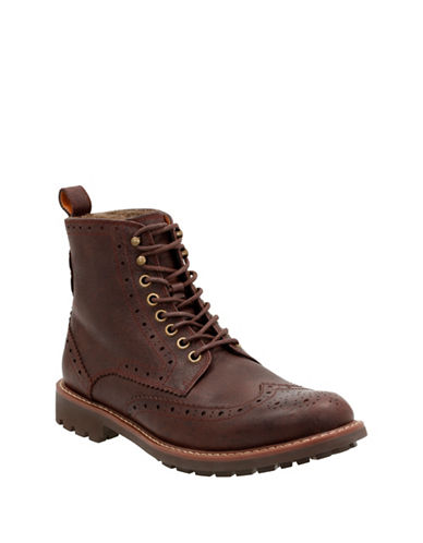 Clarks Montacute Lord Leather Lace-Up Boots-CHESTNUT-12
