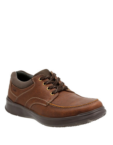 Clarks Cotrell Edge Leather Shoes-TOBACCO-9.5
