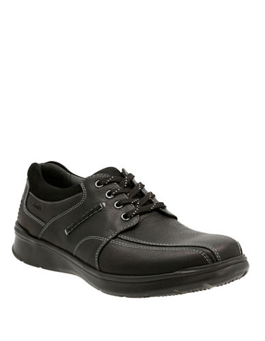 Clarks Cotrell Walk Leather Shoes-BLACK-10.5