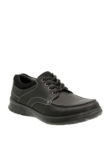 Clarks Cotrell Edge Leather Shoes-BLACK-10.5