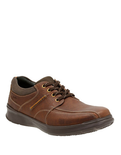 Clarks Cotrell Walk Leather Shoes-TOBACCO-9.5