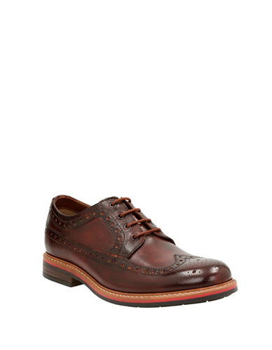 Bostonian Melshire Wing Tip Leather Derbys-RED-10.5