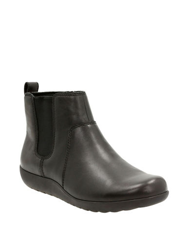 Clarks CushionSoft Medora Grace Collection Leather Chelsea Boots-BLACK-6.5