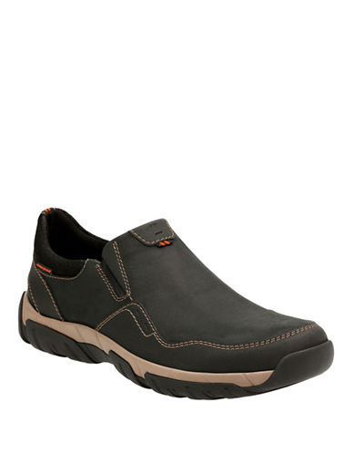 Clarks Walbeck Style Slip-On Sneakers-BLACK-11.5