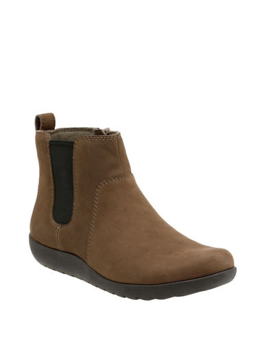 Clarks CushionSoft Medora Grace Collection Leather Chelsea Boots-DARK TAUPE-9