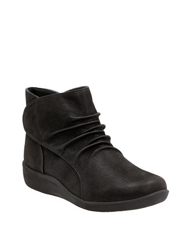 Cloudsteppers By Clarks Sillian Sway Nubuck Booties-BLACK-7.5