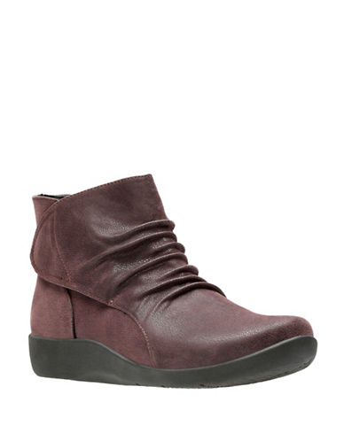 Cloudsteppers By Clarks Sillian Sway Nubuck Booties-RED-6.5