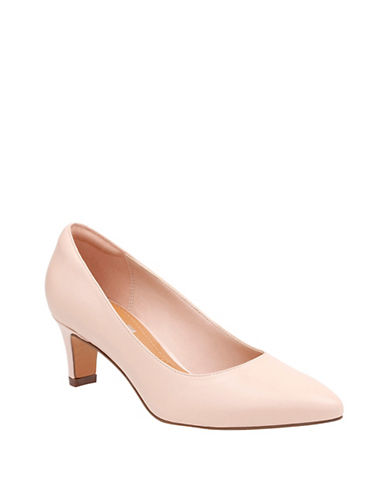Clarks Cushion Soft Leather Wick Pumps-PINK-5