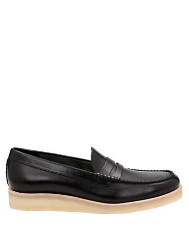 Clarks Originals Burcott Leather Penny Loafers-BLACK-10.5