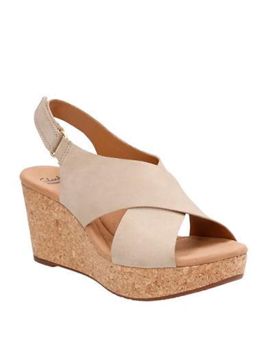 Clarks Cushion Soft Anadeleirwyn Nubuck Leather Wedge Sandals-SAND-9
