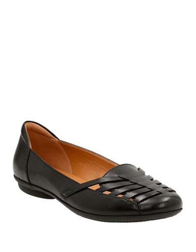 Clarks Cushion Soft Leather Grace Flats-BLACK-5.5