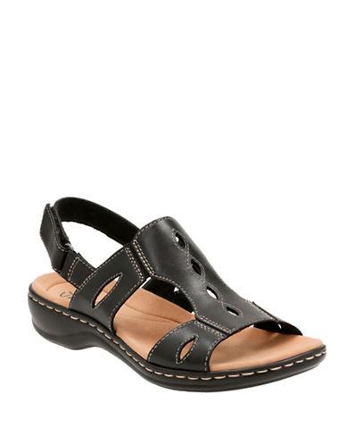 Clarks Cushion Soft Leisa Lakelyn Leather Flat Sandals-BLACK-7