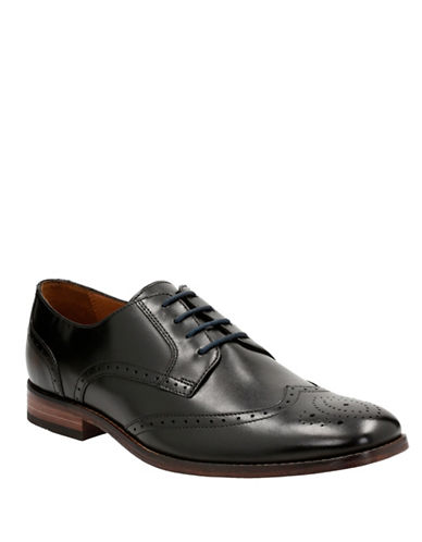 Bostonian Narrate Wing Leather Oxfords-BLACK-7.5