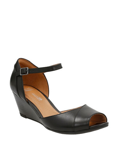 Clarks Cushion Soft Brielle Dacy Leather Wedge Sandals-BLACK-7
