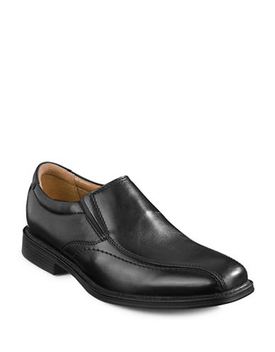 Bostonian Hazlet Step Leather Slip-On Shoes-BLACK-7.5