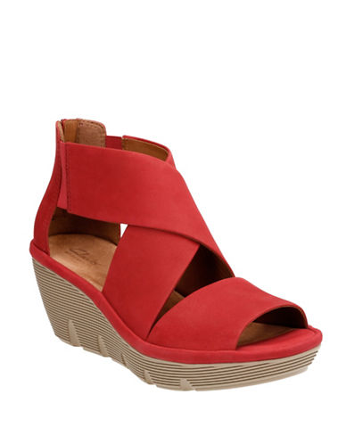 Clarks Artisan Artisan Clarene Glamor Nubuck Leather Wedge Sandals-RED-12