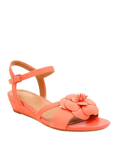 Clarks Artisan Artisan Parramstella Leather Wedge Sandals-CORAL-7.5W