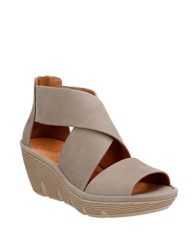 Clarks Artisan Artisan Clarene Glamor Nubuck Leather Wedge Sandals-SAGE GREEN-11