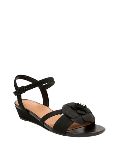 Clarks Artisan Artisan Parramstella Leather Wedge Sandals-BLACK-7