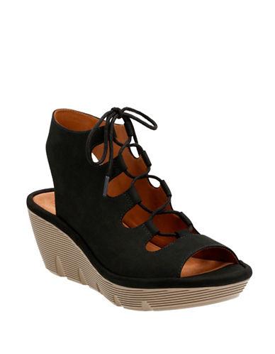 Clarks Artisan Artisan Clarene Glamor Suede Wedge Sandals-BLACK-8.5