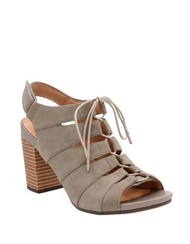 Clarks CushionSoft Banoy Waneta Leather Lace-Up Sandals-SAGE-6.5
