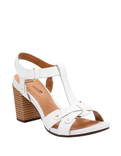 Clarks CushionSoft Banoy Valtina Leather Block Heel Sandals-WHITE-7