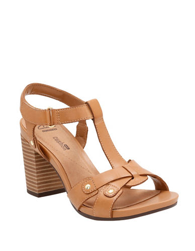 Clarks CushionSoft Banoy Valtina Leather Block Heel Sandals-TAN-7