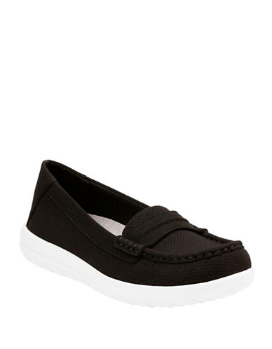 Cloudsteppers By Clarks Jocolin Maye Perforated Loafers-BLACK-7.5