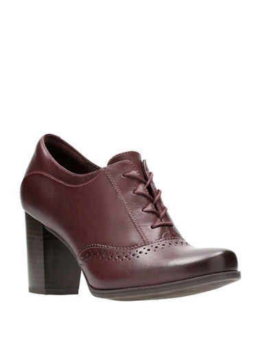 Clarks Claeson Pearl Leather Lace-Up Booties-BURGUNDY-10