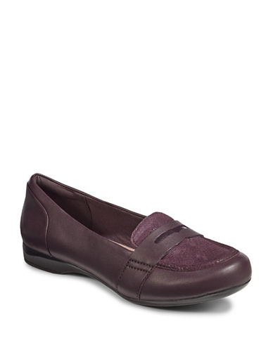 Clarks Kinzie Leather Loafers-PURPLE-6.5