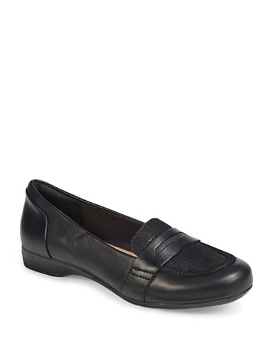 Clarks Kinzie Leather Loafers-BLACK-5.5