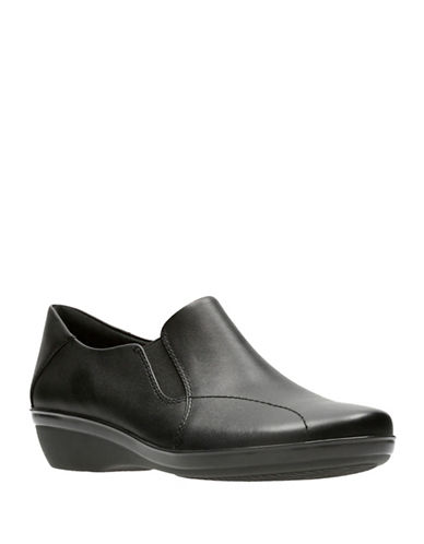 Clarks Everlay Danika Leather Slip-On Shoes-BLACK-7.5