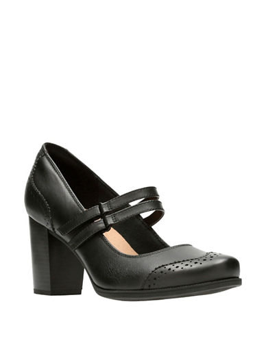 Clarks Cleason Tily Leather Mary Jane Pumps-BLACK-9