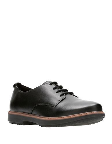 Clarks Raisie Bloom Leather Oxfords-BLACK-7