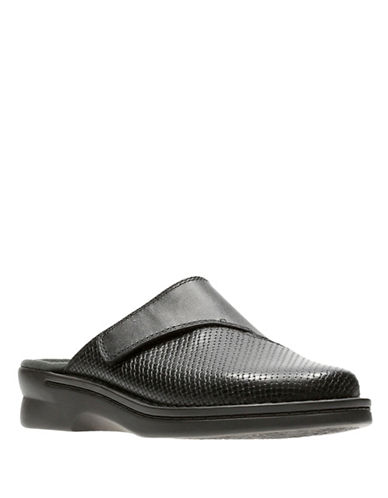 Clarks Patty Tayna Leather Mules-BLACK-6.5