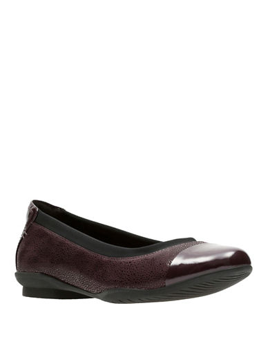 Clarks Artisan Artisan Leather Ballet Flats-PURPLE-6.5