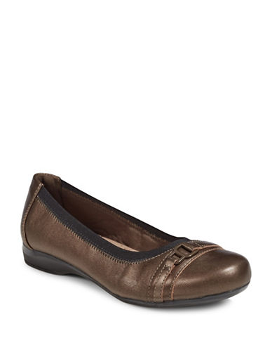 Clarks Kinzie Leather Ballet Flats-PEWTER-8.5