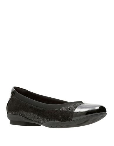 Clarks Artisan Artisan Leather Ballet Flats-BLACK NUBUCK-8.5