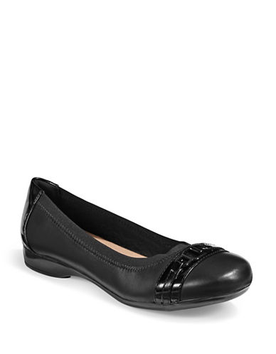 Clarks Kinzie Leather Ballet Flats-BLACK-8W