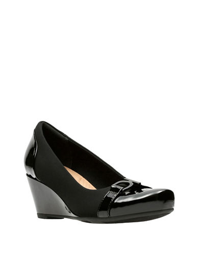 Clarks Flores Poppy Wedge Pumps-BLACK-6.5