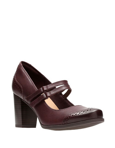 Clarks Cleason Tily Leather Mary Jane Pumps-BURGUNDY-7.5