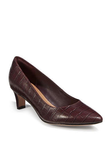 Clarks Crewso Wick Croc-Embossed Leather Pumps-BURGUNDY-7.5